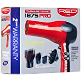 Red by Kiss 1875 ProW Ceramic Tourmaline Hair Dryer with 4 Additional Styling Attachments (Design may vary)