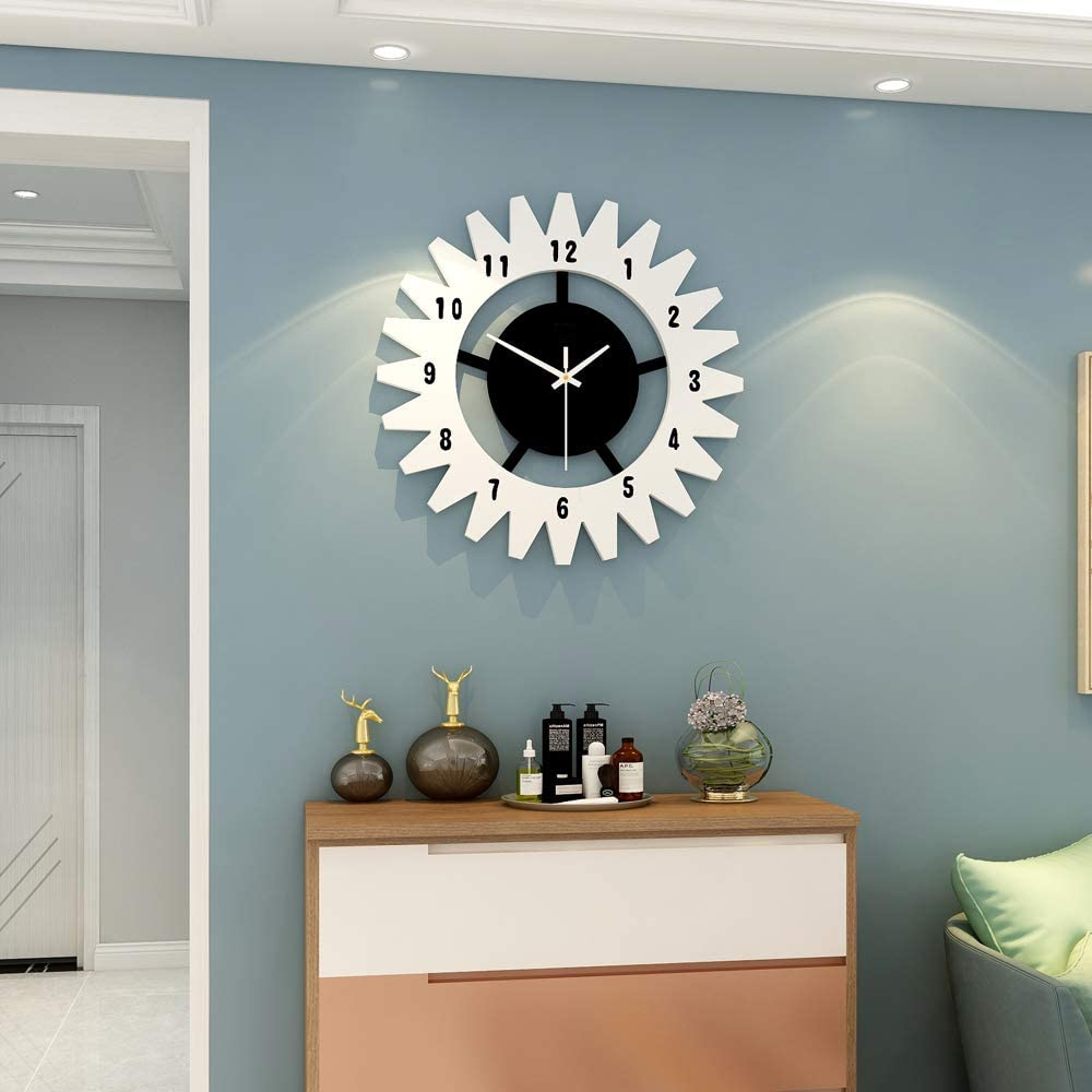 """JUJUDA Modern Quartz Wall Clock 13.38"""" European Style 3D Shape Wall Clock for Living Room Kitchen Bedroom Office Wall Decor with Numbers"""