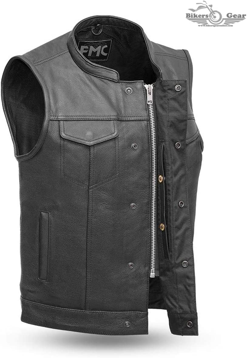 MENS MOTORCYCLE SON OF ANARCHY LEATHER VEST W//DUAL CONCEALED CARRY POCKETS 3XL