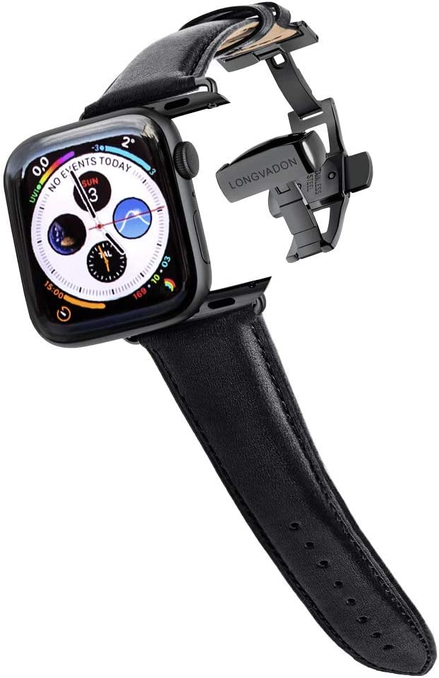 Longvadon Men's Classic Series Watch Band - Compatible with Apple Watch 42MM (Series 1-3) & 44MM (Series 4-6) - Genuine Full Grain Leather - Midnight Black with Black Details - M Size