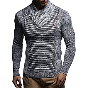 Leif Nelson Men's Knitted Pullover Jumper Sweater Hoodie Long Sleeve Slim fit