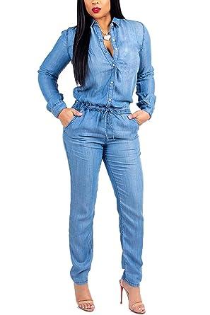 Mujeres Denim Romper Manga Larga Tobillo Pantalones Vaqueros Pantalones Monos