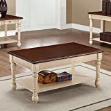 Coaster Transitional Dark Brown/Antique White Two-Toned Coffee Table