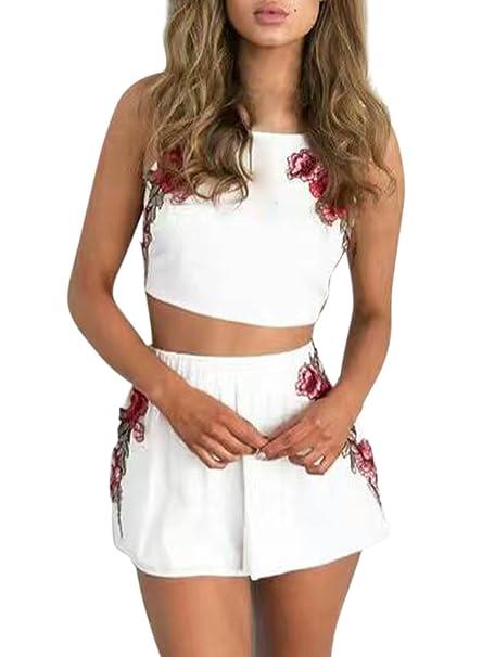 Azbro Mujer Conjunto Top Pantalones Cortos Bordado Floral,blanco M