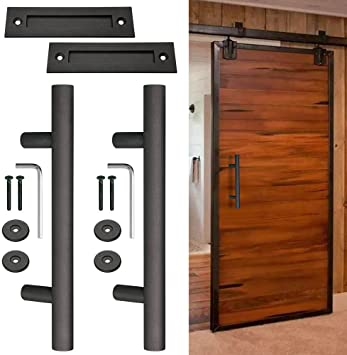 12 Sliding Barn Durable Sturdy Door Pull Flush Handle Gate Hardware Set Cast Iron Matte Coffee Wooden Doors Shed Wine Cellar Modern Sleek Look Long Lasting Use