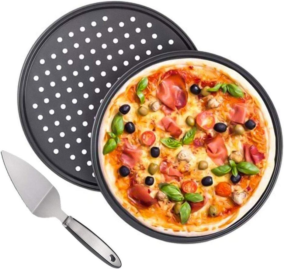 Tang Yuan 2 bandejas para Pizza antiadherentes,Bandeja para Pizza Perforada Circular Antiadherente,espátula para Pizza,Juego de Herramientas para cocinar Pizza crujiente