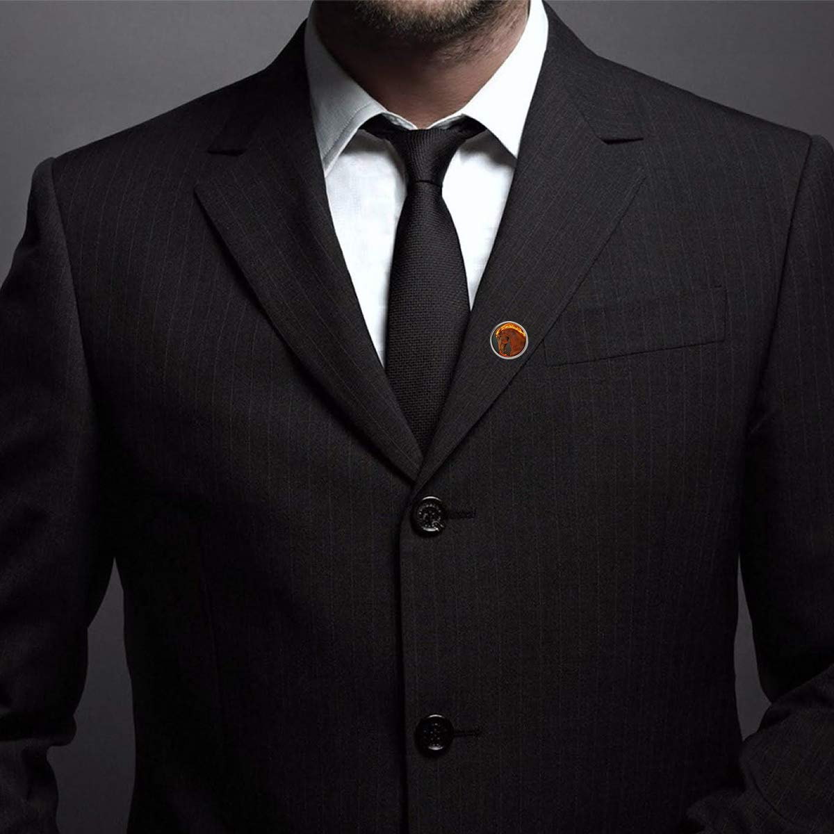 WAZZIT Round Metal Tie Tack Hat Lapel Pin Brooches Fire War Horse Banquet Badge Enamel Pins Trendy Accessory Jacket T-Shirt
