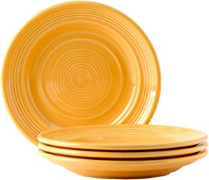 """Tuxton Home Concentrix Salad Plate (Set of 4), 7 1/2"""", Saffron Yellow; Heavy Duty; Chip Resistant; Lead and Cadmium Free; Freezer to Oven Safe up to 500F"""