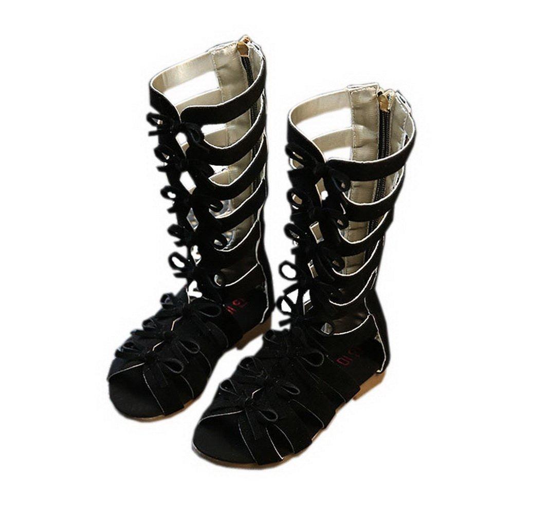 Vokamara Girls Fashion Summer Bow Gladiator Sandals Summer Dress Flats Black 12.5M