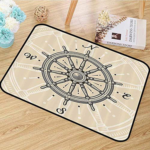 Ships Wheel Decor Area Floor Rugs Vintage Ship Wheel Antique Sailboat Navigation Tool Monochromic Nostalgic Deco Dining Room Home Bedroom W55 x L63 Olive Green and -