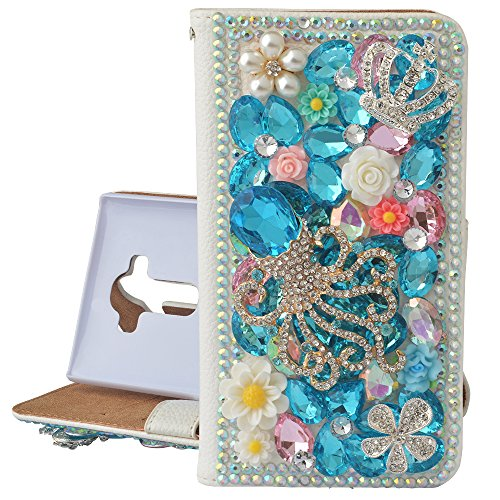 - Spritech(TM) PU Leather Bling Phone Case For Iphone 7 4.7inch,Handmade Blue Crystal White Small Flower Accessary Design Cellphone Cover With Card Slots