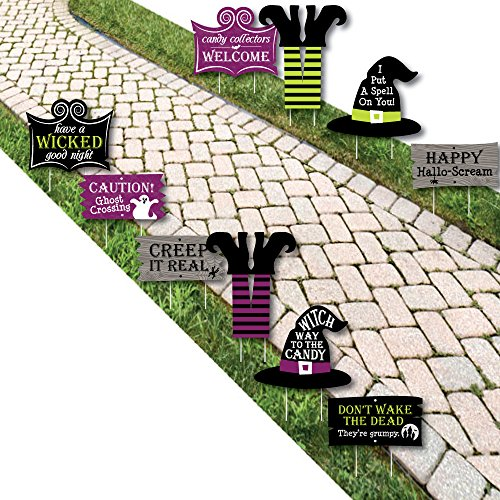 Happy Halloween - Witch Lawn Decorations - Outdoor Halloween Yard Decorations - 10 Piece -