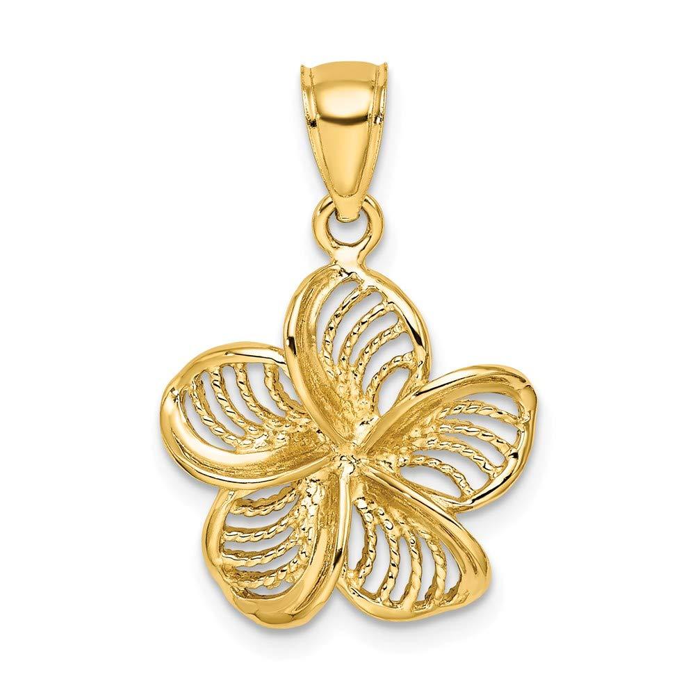 14k Yellow Gold Beaded /& Polished Plumeria Flower Charm