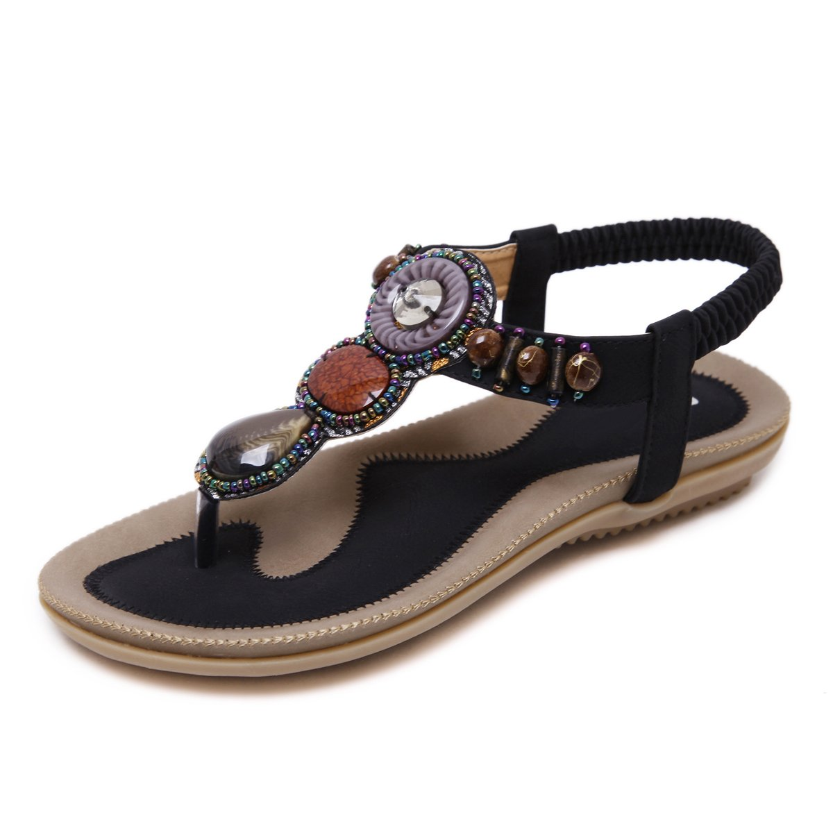 VFDB Women's Thong Flat Sandals T-Strap Summer Bohemian Rhinestone Slingback Beach Flip Flops Shoes Black US 7.5