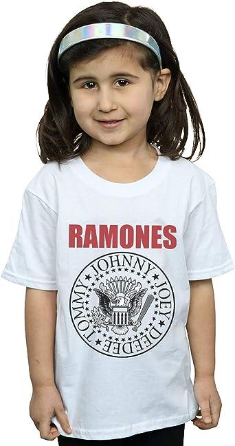 Absolute Cult Ramones Niñas Red Text Seal Camiseta