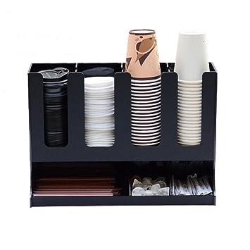 WERSHOW Soporte para tazas/Dispensador de tazas de café y vasos de papel, paja varilla, servilleta para cafetería, bar, tiendas de bebidas, etc.