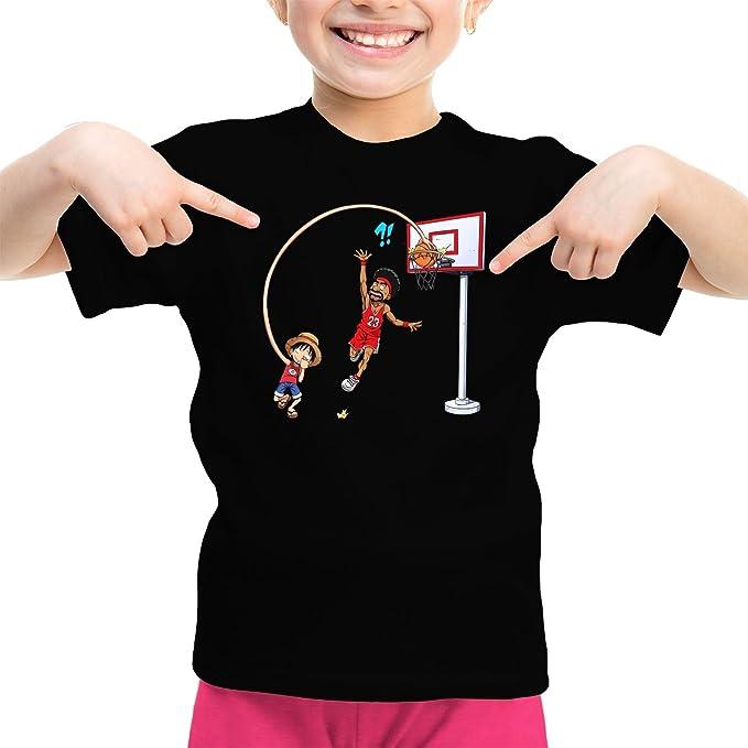 Camisetas de Manga Corta One Piece humorística con Luffy - On The Basket Ball Playground (