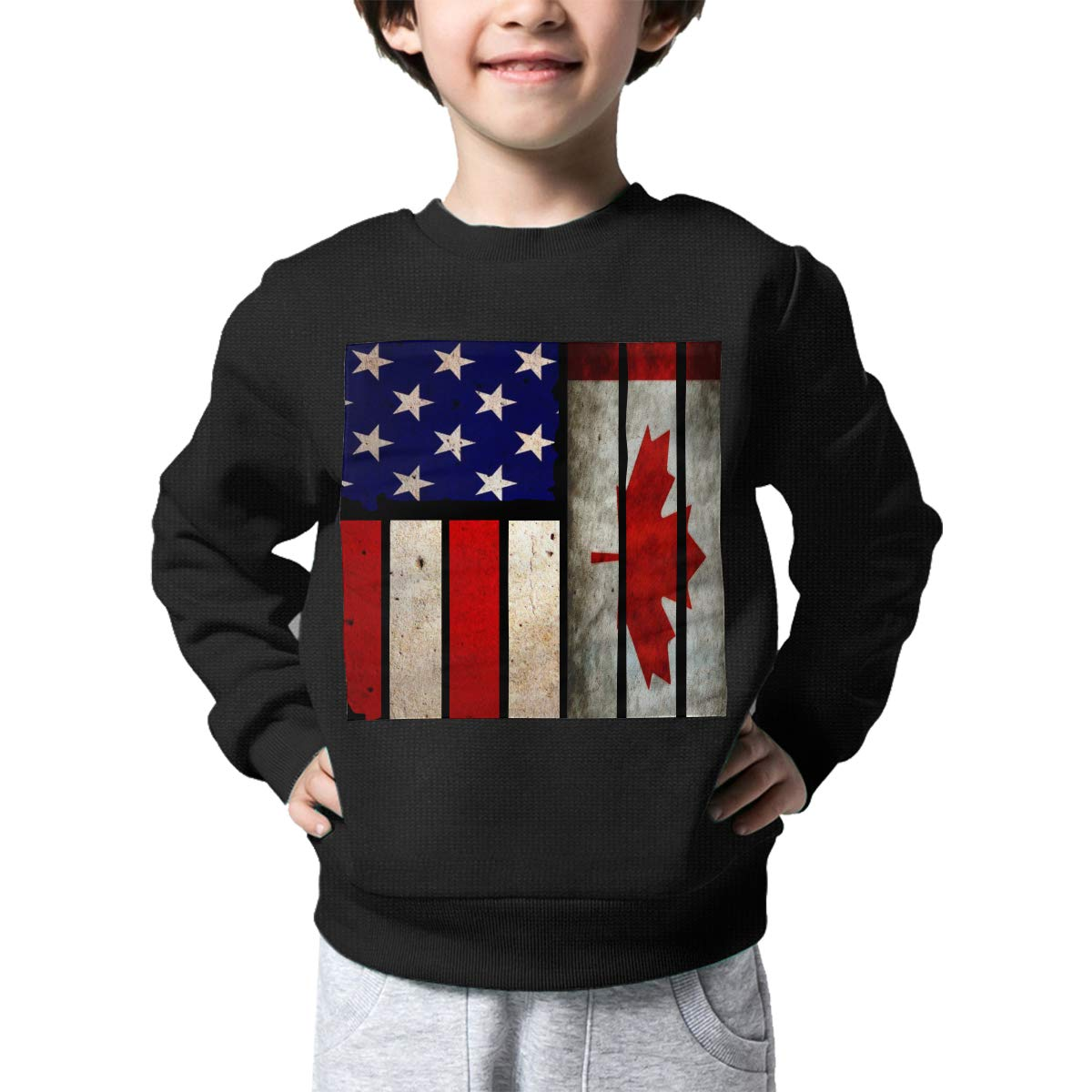 Boys Girls Vintage USA Canada Flag Lovely Sweaters Soft Warm Childrens Sweater