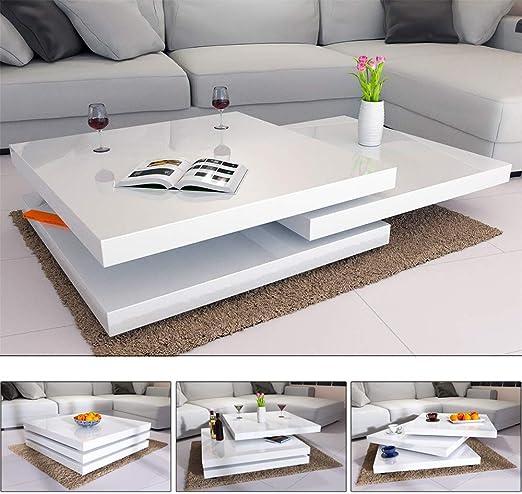 Deuba Mesa de Centro Moderna y Blanca mesita lacada Brillante 80 x ...
