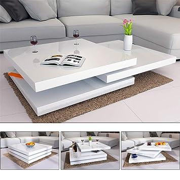 Deuba Mesa De Centro Moderna Y Blanca Mesita Lacada Brillante 80 X 80 Cm Bandejas Giratorias 360 Auxiliar Comedor Salon