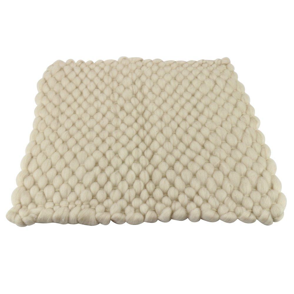 Handcraft Newborn Photography Props Knit Blanket Baby Photo Basket Props Stuffer Filler Mat, Acrylic Soft 17.715.7inch (Dark Beige)