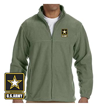 Officially Licensed US Army Logo Embroidered Fleece Jacket (XXX-Large, Sage)