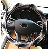 Demiawaking Stylish Universal Soft Warm Steering Wheel Cover Fluffy Faux Fur Steering Wheel Protection Covers Wrap for Winter (Gray+White)