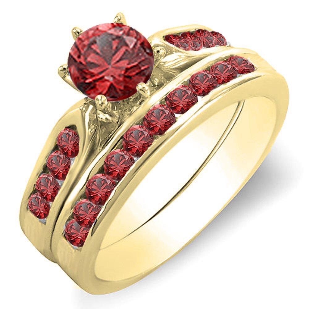 1.00 Carat (ctw) 14K Yellow Gold Round Ruby Ladies Bridal Engagement Ring Set 1 CT (Size 7)