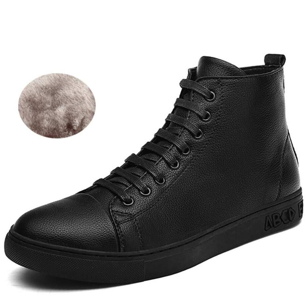 Xxoschuhe Herren Hohe Hilfe Winterstiefel Leder Chelsea Stiefel Lässige Ankle Stiefel Schwarz Wasserdichte Schuhe für Männer