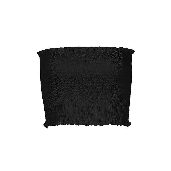 84a160eefa Image Unavailable. Image not available for. Color  Chiak Women Off Shoulder  Elastic Tube Tops Bra Blouse Strapless Bandeau Crop Top ...