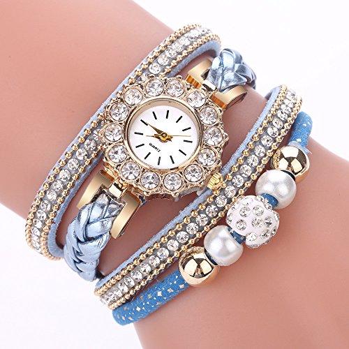 Paymenow Clearance Wrist Watches for Women Girls, 2018 New Luxury Rhinestone Pearl Analog Quartz Watch Fashion Bracelet Watches (Sky Blue) ()
