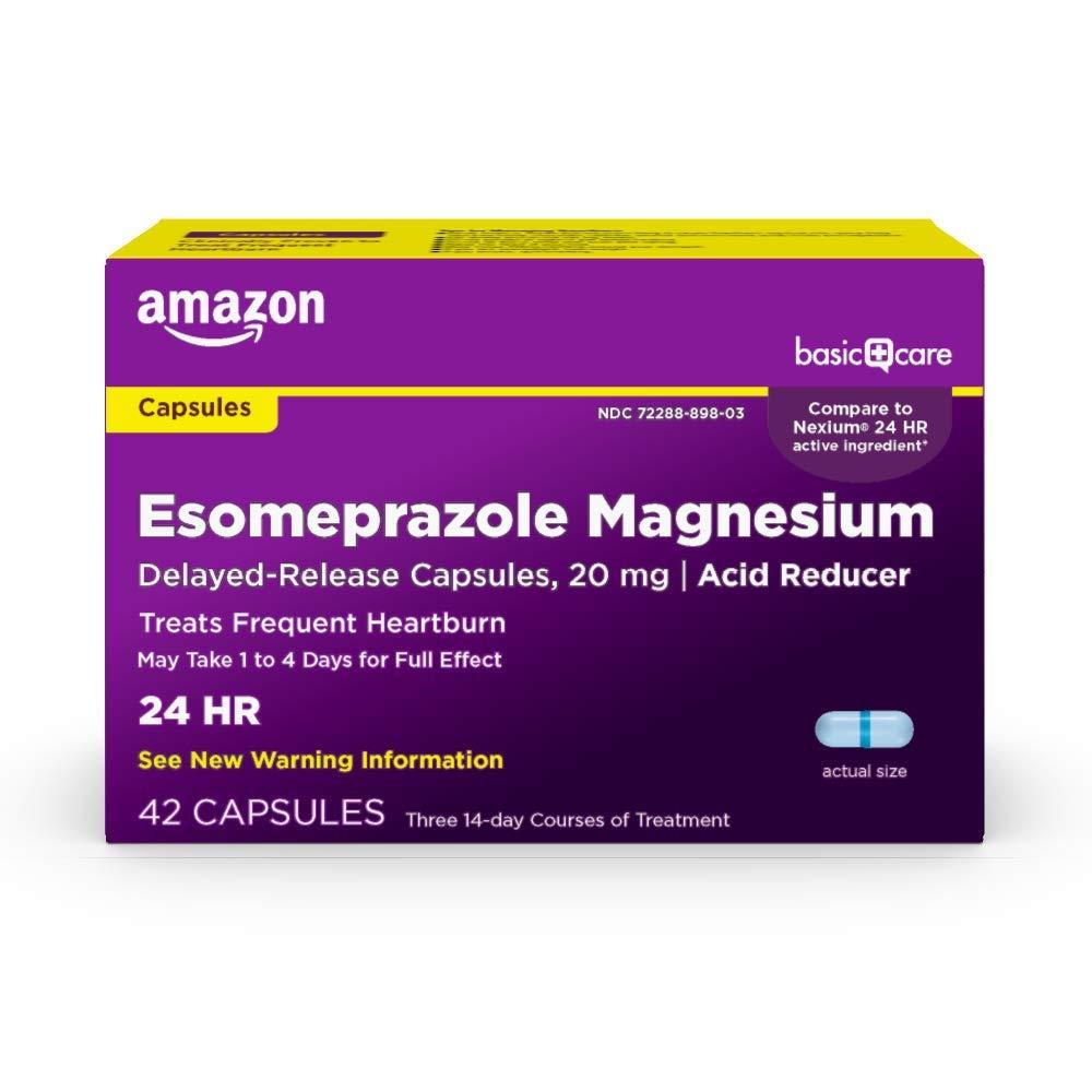 Amazon Basic Care Esomeprazole Magnesium Delayed Release Capsules- 20 mg, Blue, 42 Count