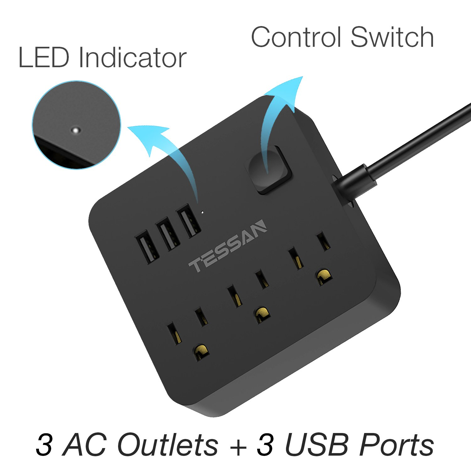 Power Strip With 3 Usb And 3 Outlet Desktop Charging