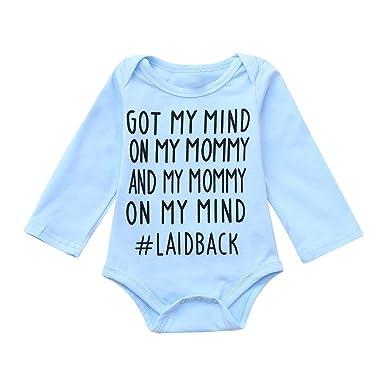 c08968230 Amazon.com  Toddler Baby Girls Boys Cotton Romper Letter Print Soft ...