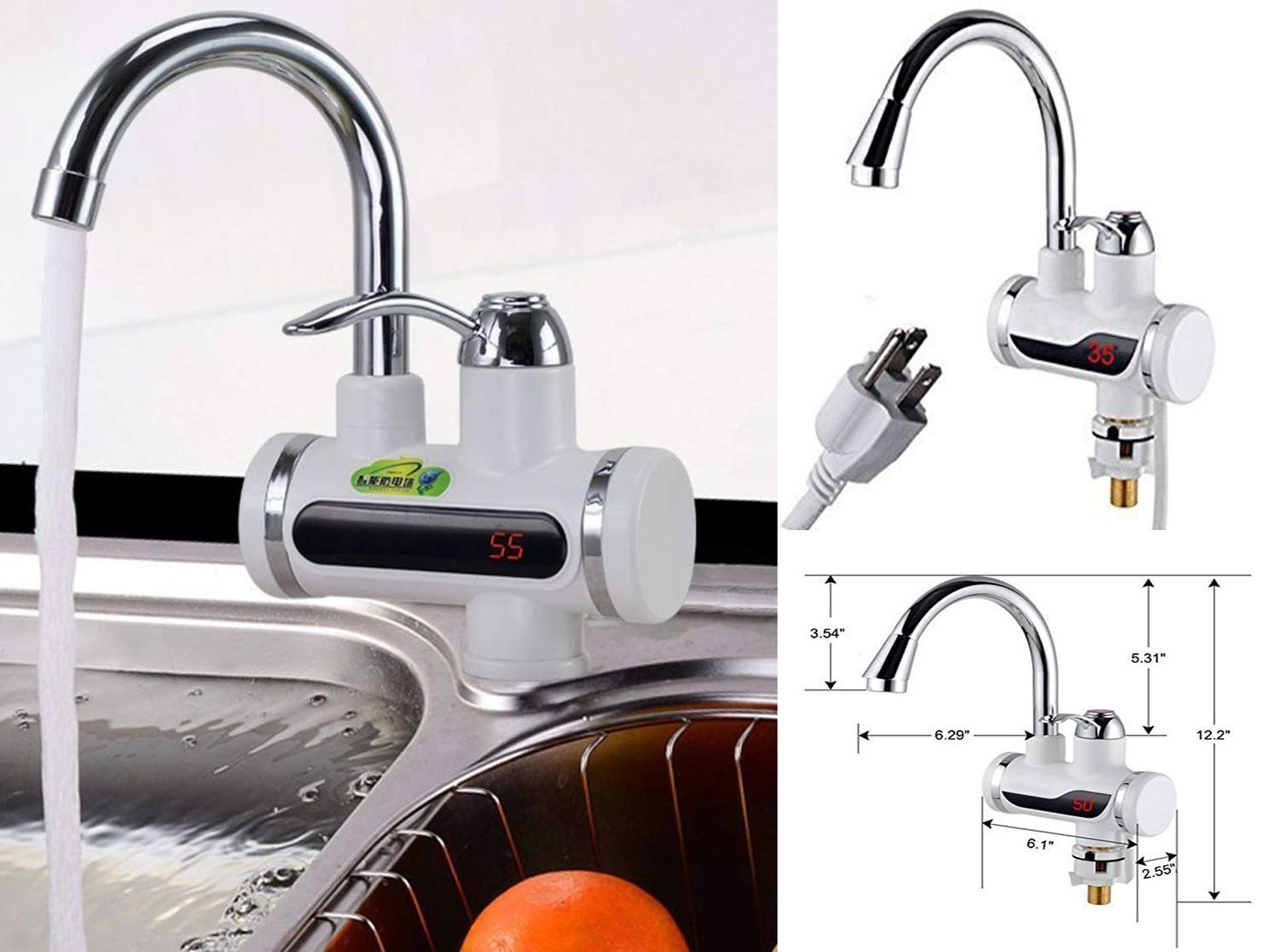 Volbit 110V 3sec Instant Tankless Electric Hot Water Heater Faucet Kitchen Fast Heating Tap Water Faucet with LED Digital Display