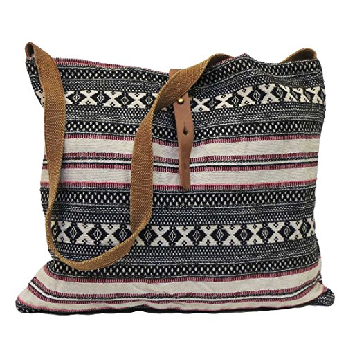 Lovestitch Tribal Print Crossbody Tote Handbag Black and Natural (Pattern Slouch Bag)