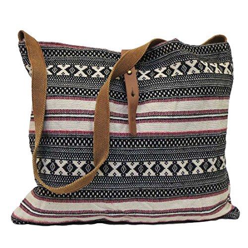 Lovestitch Tribal Print Crossbody Tote Handbag Black and Natural (Bag Slouch Pattern)