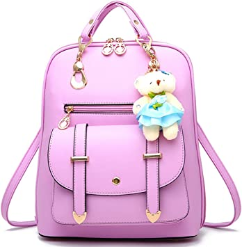 Women handbag Soft PU Leather Fashion Rivet bag Handbag with Shoulder Strap Crossbody Bag Hand drawn beautiful cute little girl kitty