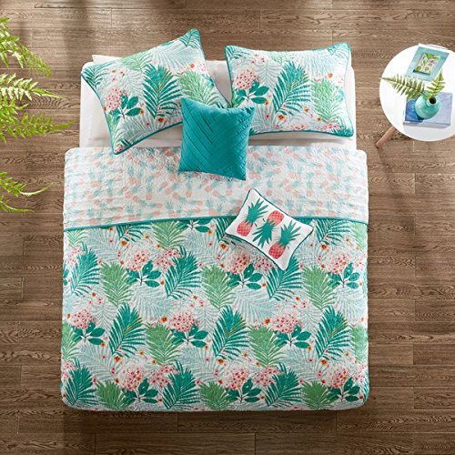 4 Piece Blue Green Orange Botanical Leaf Pineapple Quilt Twin XL Set, Pretty All Over Tropical Fruit Plant Bedding, Beautiful Stylish Chic Multi Floral Pineapples Hawaiian Themed Pattern, Coral (Hawaiian Floral Bedding)