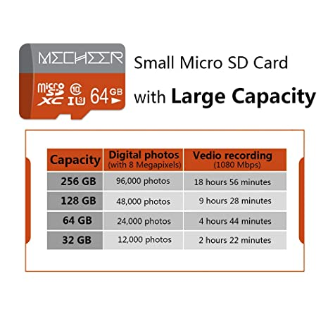 Micro SD Card 64GB, MECHEER Memory Card Micro SDXC Card Mini TF Card Class 10 UHS-3 Flash Memory Card High Speed 85MB/s C10, U3, Full HD, 64GB microSD ...