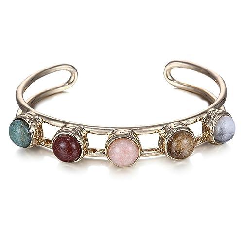 1848b049b064 Beydodo de Bohemia pulseras para las mujeres abierta pulsera Multi piedras  Retro fiesta joyas  Amazon.es  Joyería
