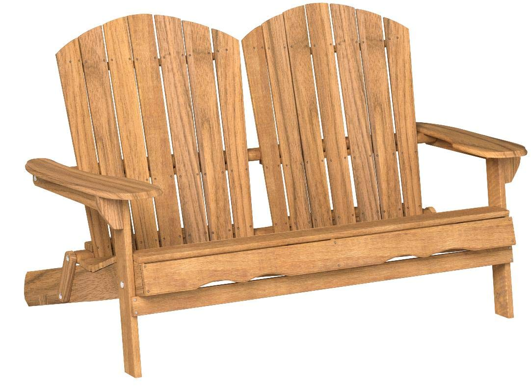 Great Deal Furniture 304032 Muriel Outdoor Natural Finish Acacia Wood Adirondack Loveseat, Stained by Great Deal Furniture