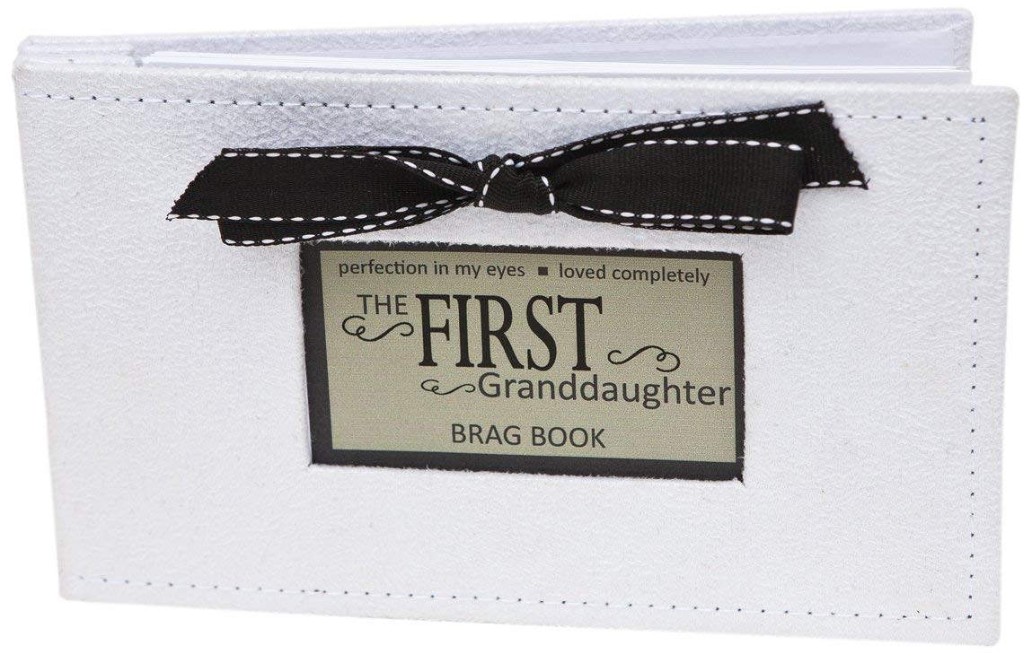 Grandparent Gifts 1st Granddaughter Brag Book white faux-suede Hold 32 4x6 image Grandparent Gift Company 1140