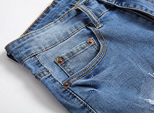 NITAGUT Men's Fashion Ripped Short Jeans Slim Fit Denim Short Light Blue-US 36