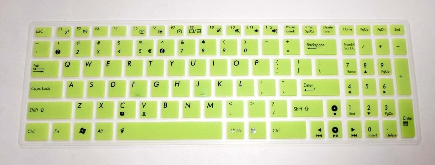 BingoBuy Semi-Green Backlit Silicone Keyboard Protector Skin Cover for ASUS A53E D550MA F552LDV F751LDV G550JK G53SW G53JW G53SX GL551JM GL551JK GL771JM G73JW G73JH G73SW K73E K53SV K550CA K553MA N56VZ N56VM N550JA N550JV N550JK N750JV Q501LA Q502LA Q551LN