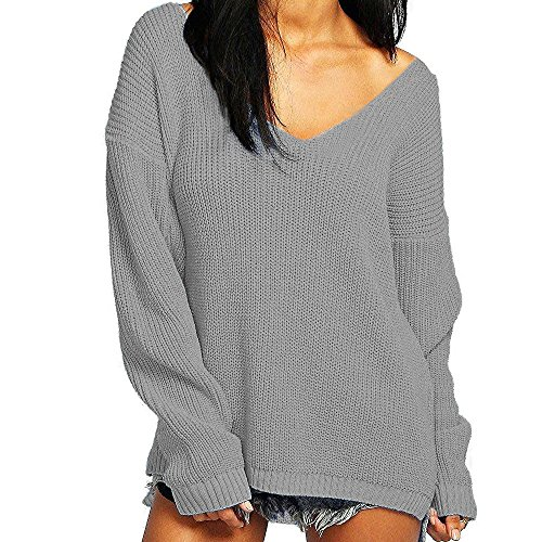 iPretty Sexy Womens Long Sleeve V-Neck Knitted Jumper Loose Sweater Pullover Top