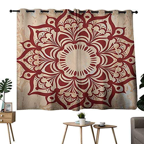 NUOMANAN Decorative Curtains for Living Room Henna,Round Cultural Ornament in Retro Style on Grunge Looking Backdrop Spiritual Symbol, Ruby Peach,Complete Darkness, Noise Reducing Curtain 42