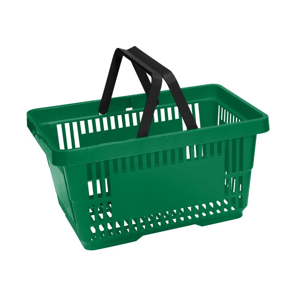 Green Plastic Shopping Baskets Pack of 10 Baskets 20 Litre Capacity (for Retail Use) VKF Renzel