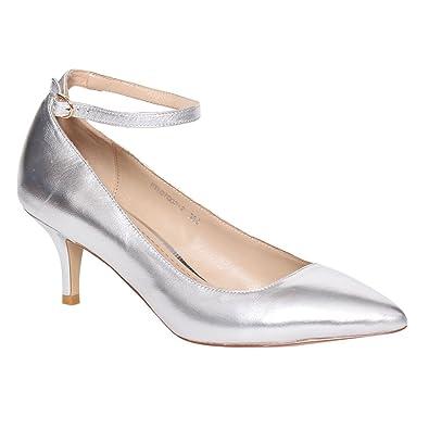 d7246bca231 LANINI DE61 Women's Genuine Leather Kitten Heel Ankle Strap Pointed ...