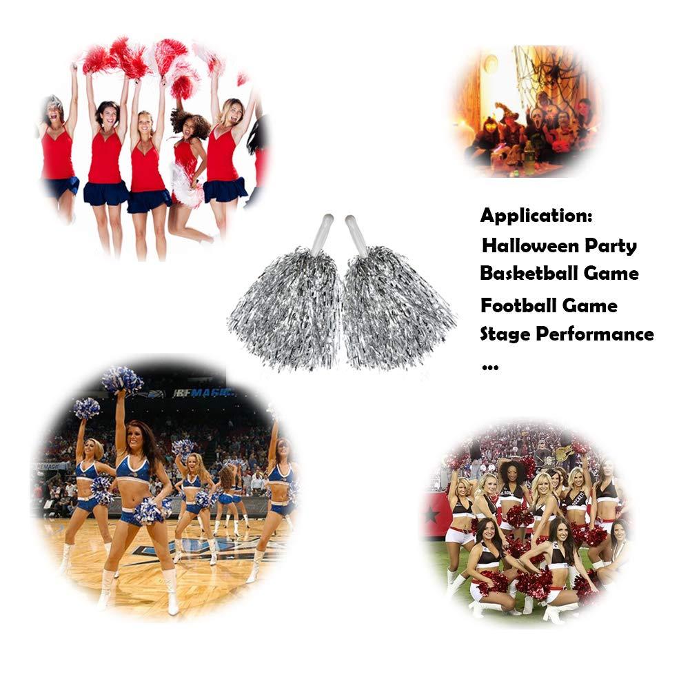 Hooshing 12 Pcs Cheerleading Pom Poms Metallic Foil Pom Poms with Plastic Handles for Team Sports